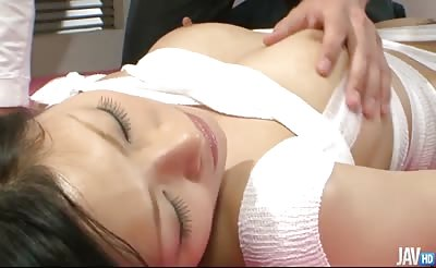 JavHD - Ryo Sasaki gives a double blowjob after having her body bound in gauze