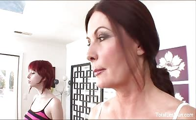 Dirty redhead babe has a sexual workout session with her stepmom