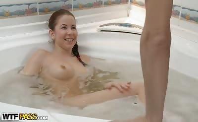 Stunning sexdoll fucks in hot tub scene 1