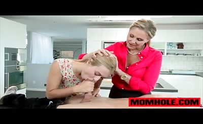 MILF Julia Ann teaches teen Natalia how to swallow hard cock