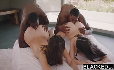 BLACKED Leah Gotti and Lana Rhoades Fuck Two BBCs