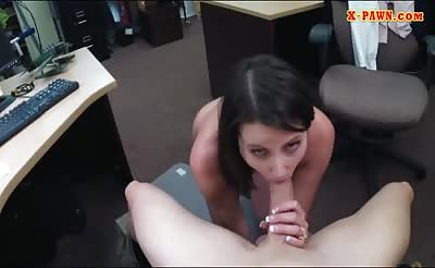 Customers wife sucks off and gets banged at the pawnshop