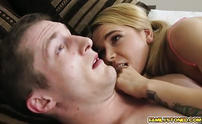 Alina West feeds Brick her sweet shaved pussy