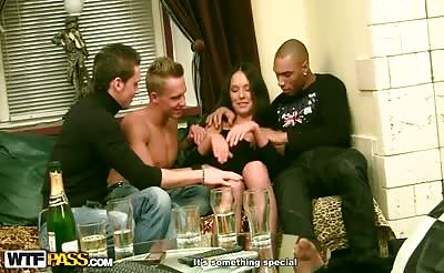 Gangbang sex with a young brunette