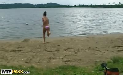 College students fucking by the lake