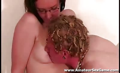 Amateur guy gets blowjob in party game from naked girl