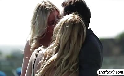 Alina West and Jessa Rhodes in an outdoor threesome session