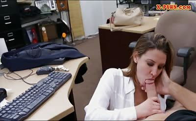 Foxy business lady railed by pawn dude at the pawnshop