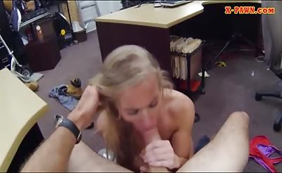 Blonde tramp sells her car and pounded