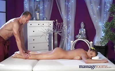 MassageRooms Brunette with big natural tits has intense orgasm