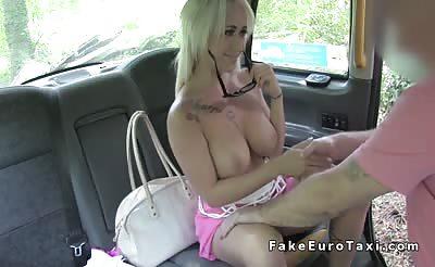 Petite busty blonde gets huge cock in cab