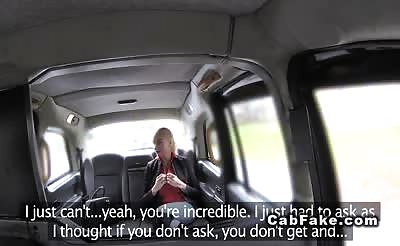 Blonde pulls out huge tits in fake taxi then fucks