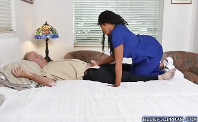 Nurse Lily swallows Frankies old dirty cock