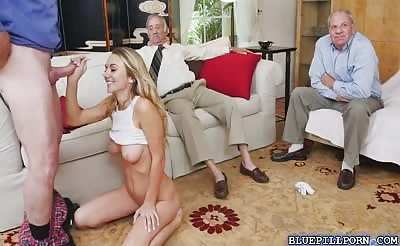 Blonde Molly Mae hardcore fucking with grandpas