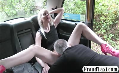 Hot blonde babe anal fucked by fake driver in the cab