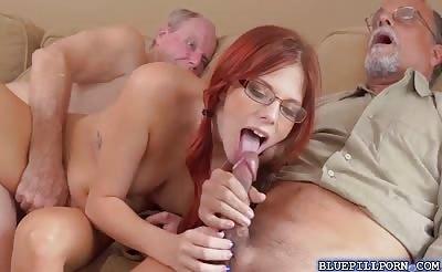 Dukes old cock fucks Zara Ryans pussy on top