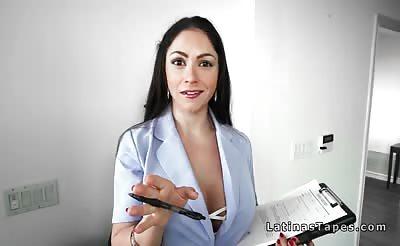 Huge tits Latina fucks client pov in luxury house