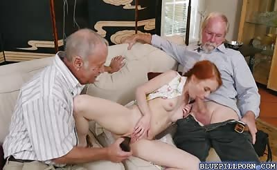 Tight redhead Dolly Little bangs with a granny
