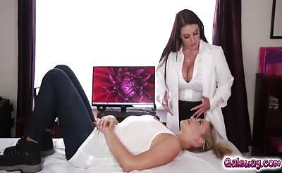 Mia Malkova licks Angel Whites hairy pussy