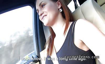 Big ass brunette teen bangs stranger in his car