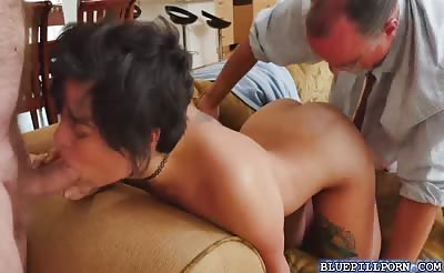 Christine rides Glenns old cock on top bouncing off