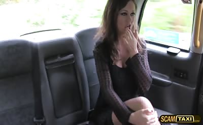 Sexy Posh lady seduces the taxi driver