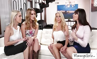 Moms day party turns into a wild lesbian pussy tribbing