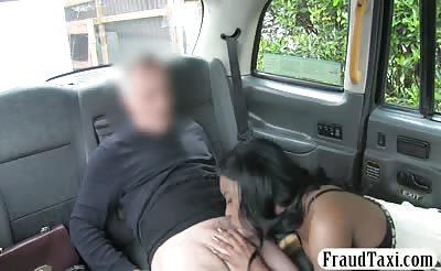 Big boobs ebony fucked by horny driver in the backseat