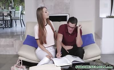 Teen siblings study session ends in a heated forbidden fuck
