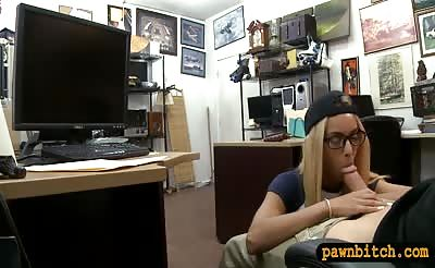Cutie with glasses nailed by pawn dude at the pawnshop