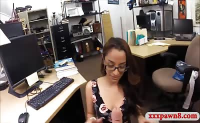 Hot amateur coed with glasses railed at the pawnshop