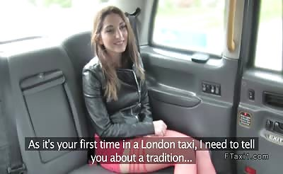 Brunette tourist sucks in London fake taxi