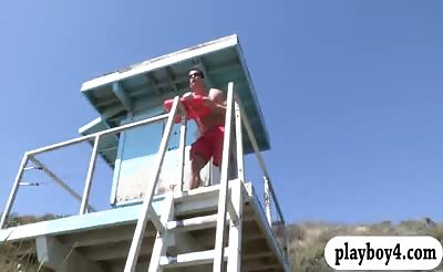 Two pretty babes get pounded by nasty lifeguard in bed