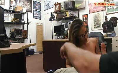 Busty tattooed woman with glasses railed by pawn man