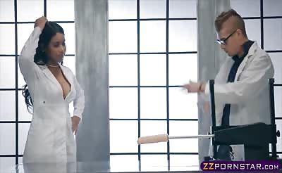 Cute ebony tries the newest fucking machine with a big dildo