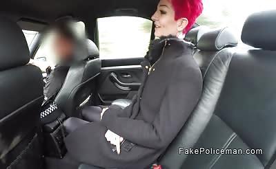 Fake cop bangs bent over redhead outdoors