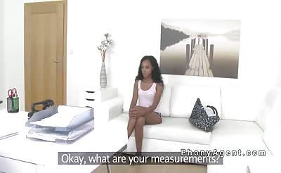 Petite ebony in lingerie sucks agents dick