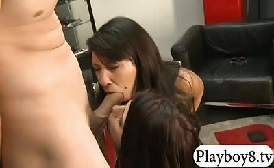 Two brunette girls shared a hard man meat for some cash