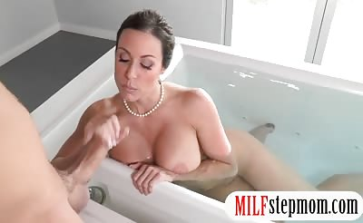 Big tits stepmom Kendra Lust amazing threesome session