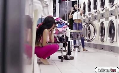 Pretty babe Annika gets fucked in the laundry shop