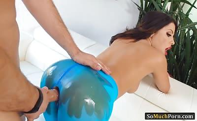 Kinky woman in blue pantyhose gets her butthole slammed