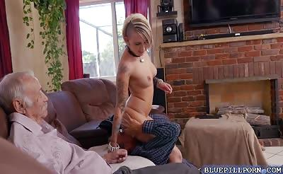 Old Duke banging Presley Carters pussy sideways