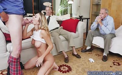 Old cock fucks Molly Maes tight pussy from behind