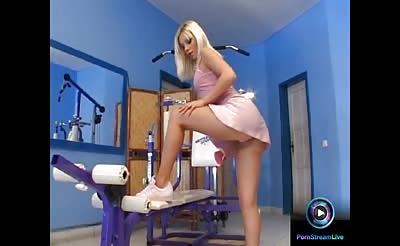 Hot Debie White treating her dildo like her lover's dick