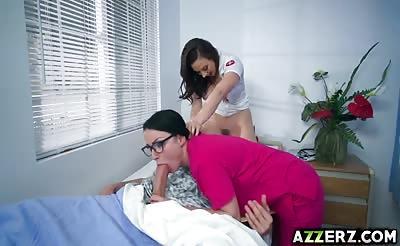 Dr. Chanel and nurse Veruca hot threesome fuck