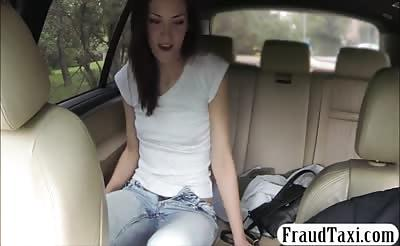 Tight babe flashes her ass and banged by fake driver
