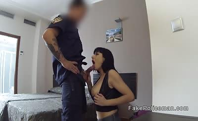 Fake cop anal bangs babe in her hotel room