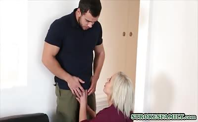 Busty MILF stepmom sucking her stepsons cock before fuck