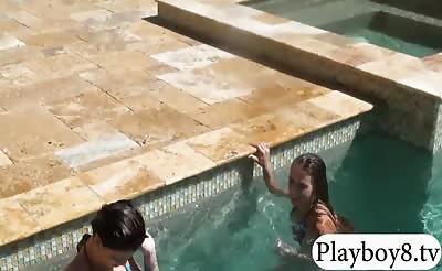 Three sexy gals take off bikini then banged by the pool