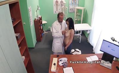 Euro doctor licks and fucks friends girl in fake hospital